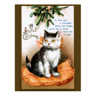 Ellen H. Clapsaddle: Cat under Mistletoe Postcard