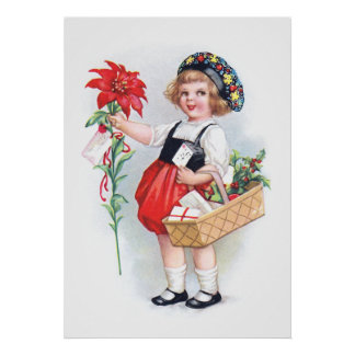 Ellen H Clapsaddle Chica con el Poinsettia Poster