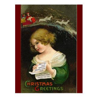 Ellen H. Clapsaddle - chica del navidad con la let Postal