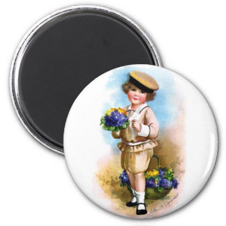 Ellen H. Clapsaddle: Child with Forget-me-not 2 Inch Round Magnet