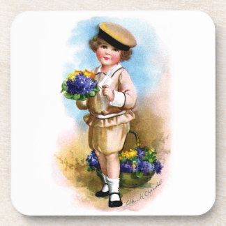 Ellen H. Clapsaddle: Child with Forget-me-not Drink Coaster