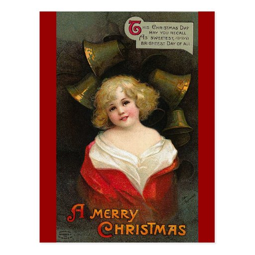 Ellen H. Clapsaddle - Christmas Girl with Bells Postcards
