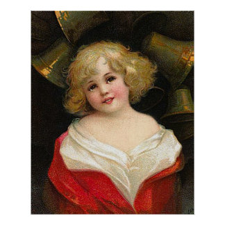Ellen H. Clapsaddle - Christmas Girl with Bells Poster