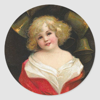 Ellen H. Clapsaddle - Christmas Girl with Bells Round Stickers
