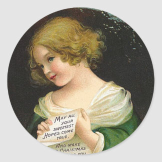 Ellen H. Clapsaddle - Christmas Girl with Letter Classic Round Sticker