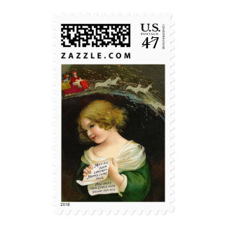 Ellen H. Clapsaddle - Christmas Girl with Letter Postage