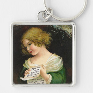 Ellen H. Clapsaddle - Christmas Girl with Letter Silver-Colored Square Keychain