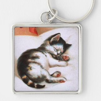 Ellen H. Clapsaddle: Christmas Kitten Silver-Colored Square Keychain