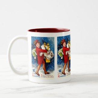 Ellen H. Clapsaddle - Christmas Shopping Girl mug