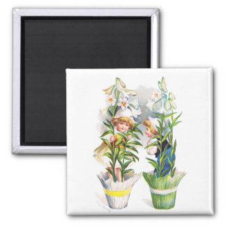 Ellen H. Clapsaddle: Easter Flower Children 2 Inch Square Magnet