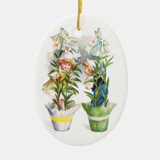 Ellen H. Clapsaddle: Easter Flower Children Double-Sided Oval Ceramic Christmas Ornament