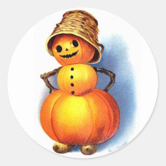 Ellen H. Clapsaddle: Funny Pumpkin Character Classic Round Sticker