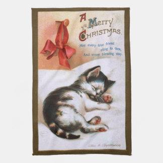 Ellen H. Clapsaddle: Gatito del navidad Toallas De Mano