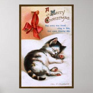 Ellen H. Clapsaddle: Gatito del navidad Póster