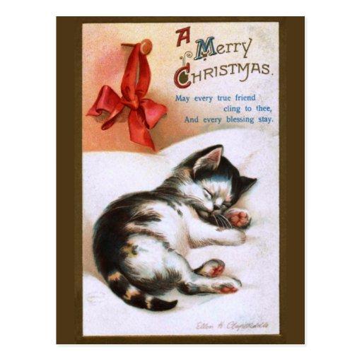 Ellen H. Clapsaddle: Gatito del navidad Tarjeta Postal
