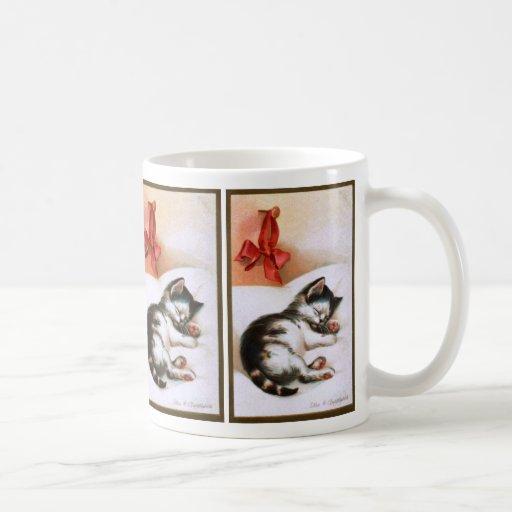 Ellen H. Clapsaddle: Gatito del navidad Tazas De Café