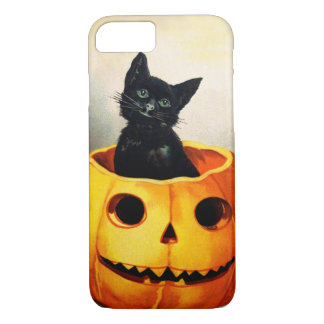 Ellen H. Clapsaddle: Gato negro en Jack O'Lantern Funda iPhone 7
