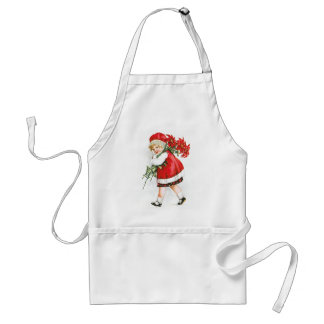 Ellen H. Clapsaddle: Girl with Christmas Flowers Adult Apron