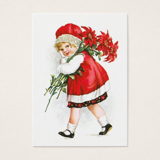 Ellen H. Clapsaddle: Girl with Christmas Flowers Business Card