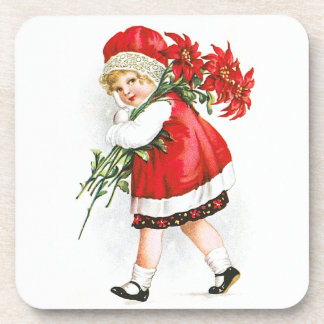 Ellen H. Clapsaddle: Girl with Christmas Flowers Coaster