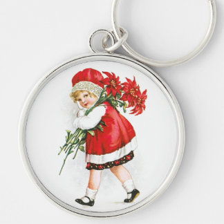 Ellen H. Clapsaddle: Girl with Christmas Flowers Silver-Colored Round Keychain