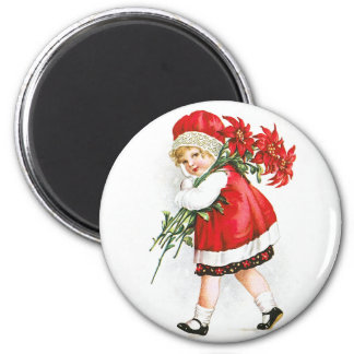 Ellen H. Clapsaddle: Girl with Christmas Flowers Magnet