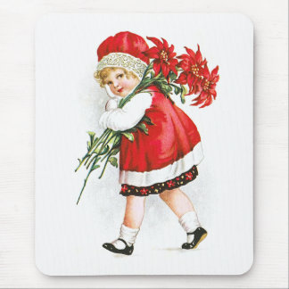 Ellen H. Clapsaddle: Girl with Christmas Flowers Mouse Pad