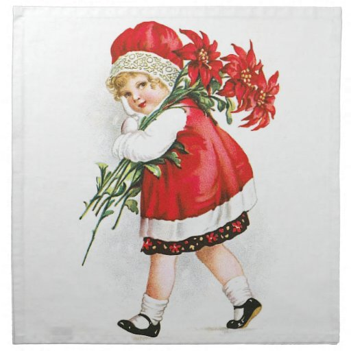 Ellen H. Clapsaddle: Girl with Christmas Flowers Cloth Napkins