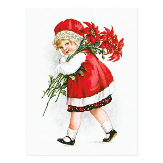 Ellen H. Clapsaddle: Girl with Christmas Flowers Postcard
