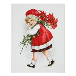 Ellen H. Clapsaddle: Girl with Christmas Flowers Poster