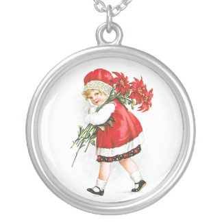 Ellen H. Clapsaddle: Girl with Christmas Flowers Round Pendant Necklace