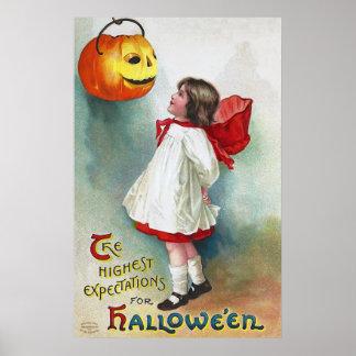 Ellen H. Clapsaddle: Girl with Jack O'Lantern Poster