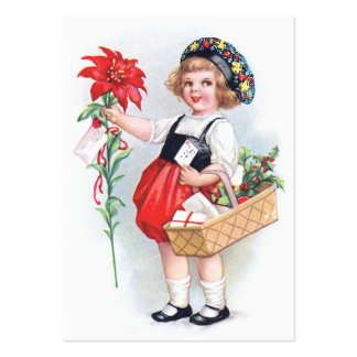 Ellen H. Clapsaddle: Girl with Poinsettia Large Business Card