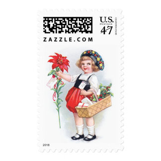 Ellen H. Clapsaddle: Girl with Poinsettia Postage