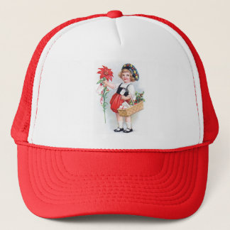 Ellen H. Clapsaddle: Girl with Poinsettia Trucker Hat