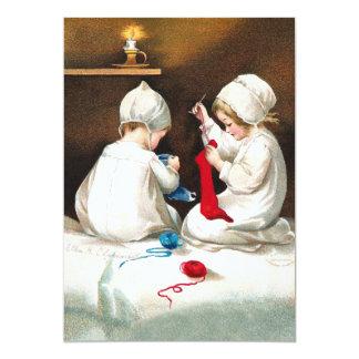 Ellen H. Clapsaddle: Girls Stitching Stockings Invitations