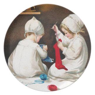 Ellen H. Clapsaddle: Girls Stitching Stockings Plate