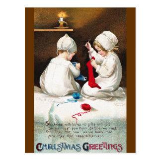 Ellen H. Clapsaddle: Girls Stitching Stockings Postcard