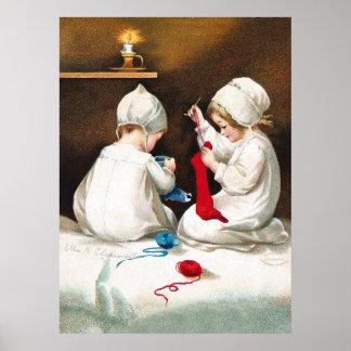 Ellen H. Clapsaddle: Girls Stitching Stockings Poster