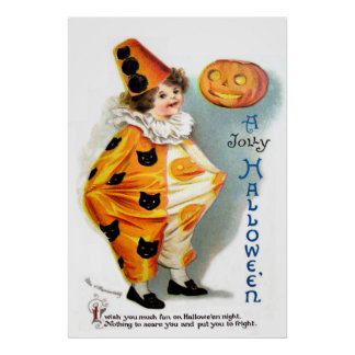 Ellen H Clapsaddle Halloween Harlequin Poster