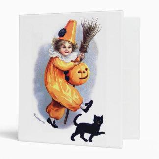 Ellen H. Clapsaddle: Halloween Harlequin with Cat 3 Ring Binder