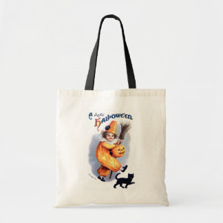 Ellen H. Clapsaddle: Halloween Harlequin with Cat Budget Tote Bag