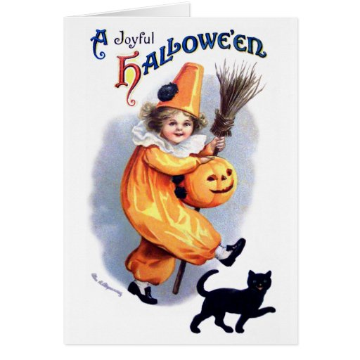 Ellen H. Clapsaddle: Halloween Harlequin with Cat Greeting Cards