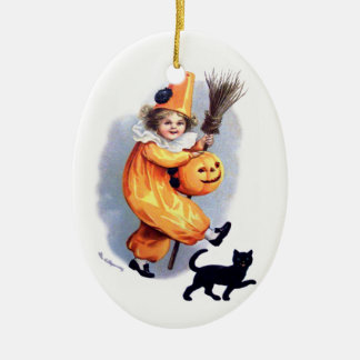 Ellen H. Clapsaddle: Halloween Harlequin with Cat Ceramic Ornament