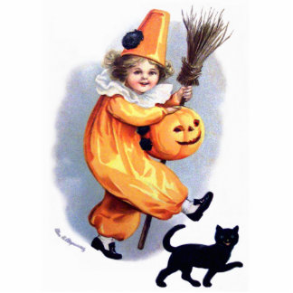 Ellen H. Clapsaddle: Halloween Harlequin with Cat Cutout
