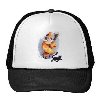 Ellen H. Clapsaddle: Halloween Harlequin with Cat Trucker Hat