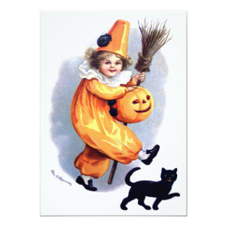 Ellen H. Clapsaddle: Halloween Harlequin with Cat Invitations