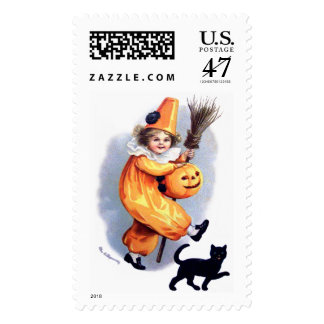 Ellen H. Clapsaddle: Halloween Harlequin with Cat Postage