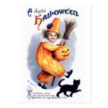 Ellen H. Clapsaddle: Halloween Harlequin with Cat Postcard