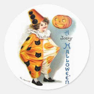Ellen H. Clapsaddle: Harlequin de Halloween Pegatina Redonda